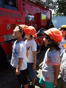 消防車は注目の的